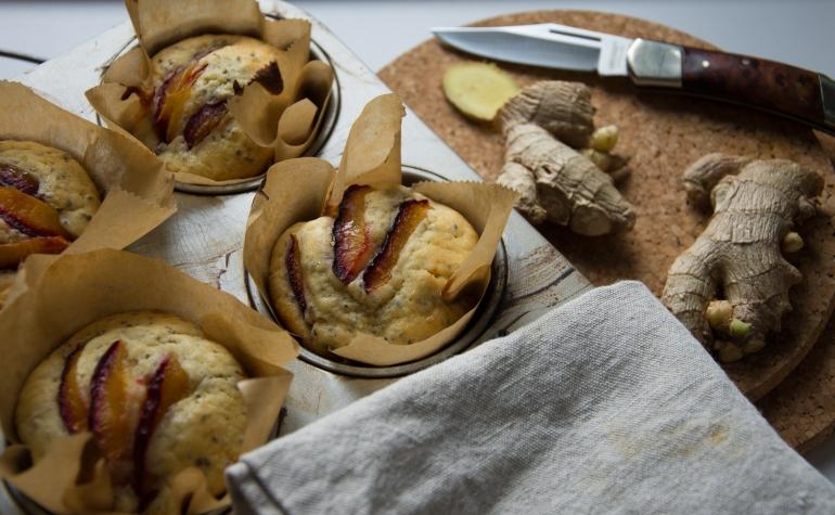Zwetschgen Ingwer Chia Muffins